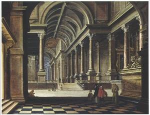 Kerkinterieur met wandelaars en een monnik bij een praalgraf