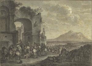 Landschap met soldaten bij een ruïne