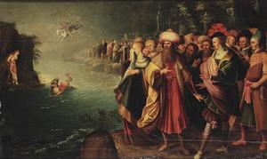 Perseus redt de aan de rots gekluisterde Andromeda van het zeemonser, terwijl haar ouders Cepheus en Cassiopeia toekijken