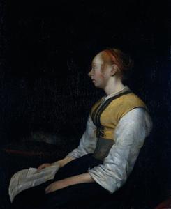 Meisje met een brief, mogelijk Gesina ter Borch (1631-1690), halfzuster van de schilder