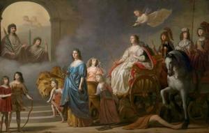 Allegorie op de Rechtvaardigheid: Koningin Elisabeth en haar kinderen ontmoeten de overleden keurvorst Friedrich V , zijn oudste zoon Frederik Hendrik en andere overleden familieleden,, aan de poort van de Eeuwigheid
