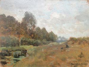 De schilder J.F. Hulk jr. met schilderskist in een landschap