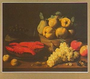 Stilleven van kreeften en vruchten