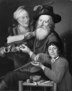Een oude man met halsberg, oude lezende vrouw en knaap met geldstuk