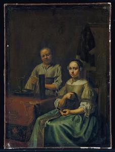 Jonge vrouw aan tafel, met haar dienstmeid