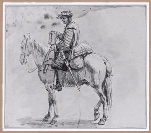 Soldaat te paard met bierpul in de hand