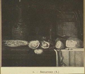 Stilleven met oesters, brood en een kruik