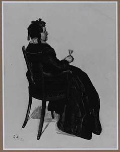Zittende vrouw met een glas