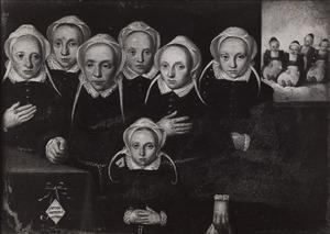 Portret van Margarita Snoeck (....-....) en haar tien dochters