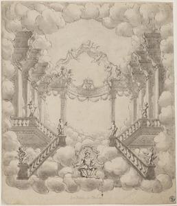 Een jonge koning tronend op wolken