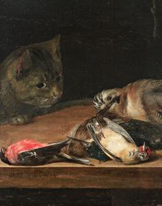Kat bij een stilleven van dode vogels