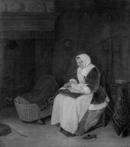 Zittende vrouw met een fluwelen jas aan het handwerken