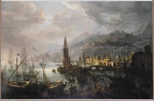 Zuidelijke havenstad bij maanlicht