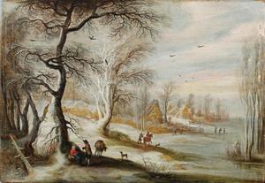 Winterlandschap met reizigers op een bospad
