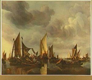 Schepen op kalm water, in het midden een statenjacht, mogelijk van Frederik Hendrik