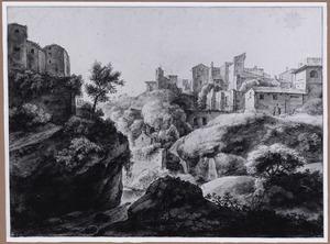 Italiaanse stad op een berg met watervallen (Tivoli?)
