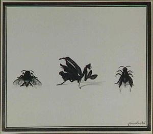Een bidsprinkhaan en twee andere insecten