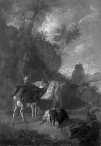 Drie geiten en een herder met schapen