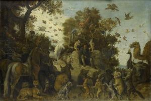 De dichter op het feest der dieren gekroond door twee apen