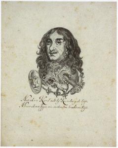 Portret van koning Karel II  (1630-1685), gecombineerd met een tijgerkop