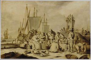 Strandgezicht met een geanimeerd etend en drinkend gezelschap, op de achtergrond schepen