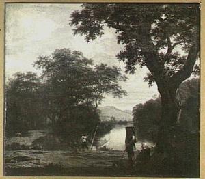 Bosrijk landschap met een visser met een kruisnet aan een rivier
