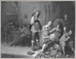 Rokende, drinkende en kaartende soldaten met buit in een wachtlokaal