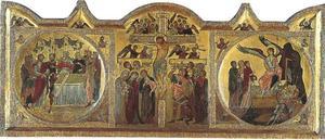 Kruisiging van christus (midden); Christus voor Kajafas (rechts); Drie Maria's bij het lege graf ((rechts)