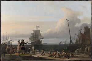 Inscheping van zeesoldaten op de rede van Texel