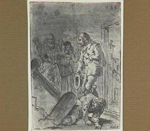 Lazarillo valt met de koffer van de trap; uit de koffer komt een jonge edelman tevoorschijn (Lazarillo de Tormes dl. 2, cap. 13, p. 92)
