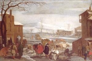 Winterlandschap met figuren