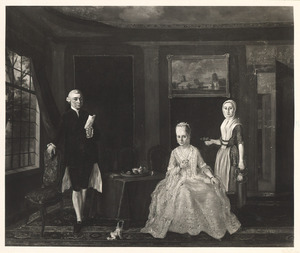 Familieportret van Hendrik Grunelius (?-1782) en Margaretha Johanna Issendorp (1743-1819), met dienstbode Grietje Griffioen (?-?)