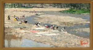 Vrouwen bij een rivier aan de was