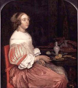 Jonge vrouw met een schaal oesters