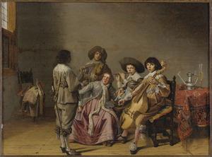 Musicerend elegant gezelschap in een interieur