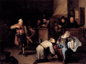 Een man strooit buskruit aan de voeten van een slapende vrouw, een ander staat klaar met een lont
