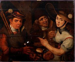 Doedelzakspeler, meisje en oudere man