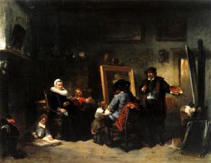 Jan Six op bezoek in het atelier van Rembrandt