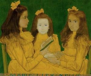 Portret van drie dochters van Arie Volker