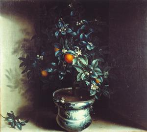Oranjeboompje in een porseleinen pot (haardscherm)