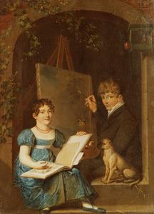 Dubbelportret van een jongen en een meisje, waarschijnlijk Job Augustus Bakker (1796-1876) en zijn zus Geertruida Jacoba Bakker (1802-1864)