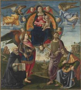Maria met Kind en de Heiligen Dominicus, Michael, Johannes de Doper en Thomas