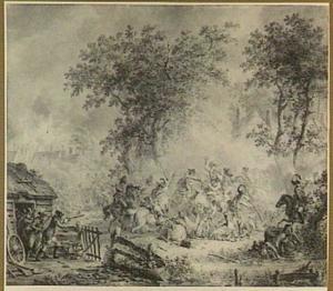 Cavalleriegevecht in een dorp, in het midden een trommelaar