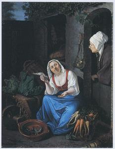 Verkoopster van haring en groente met haar waren, zittend voor een winkel