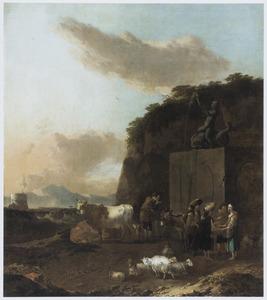 Zuidelijk landschap met zigeuners, herders en vee bij een fontein