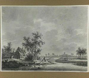 Rivierlandschap met het dorp Westbroek