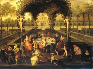 """Elegant gezelschap in een tuinprieel (vrouwenlinde): """"Sine Cerere et Baccho friget Venus"""""""