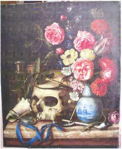 Vanitasstilleven met porseleinen vaas met bloemen