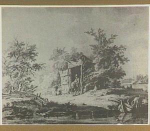 Landschap met een houten schijthuis