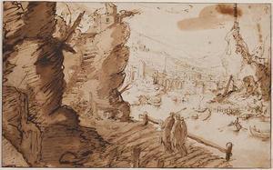 Rotsachtig landschap met Christus en de discipelen op weg naar Emmaus
